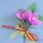 Szalagokkal díszített rózsaszín léggömbvirág